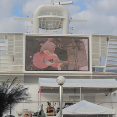 Ocho Rios, Jamaica - Dave Cousins of Strawbs on Giant Screen (Moody Blues Cruise)