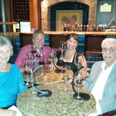 Enjoying wine flights with Mom and Dad at Vines aboard Ruby Princess