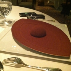 Chocolate molten cake for dessert, Remy, Disney Dream
