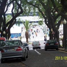 Madeira, ship seen from sidestreet across harbor