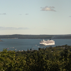 Ship from atop Cadallic Mt., Bar Harbor, ME