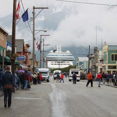 Skagway with ship in the background