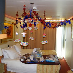 The Aft cabin decorated for my birthday!