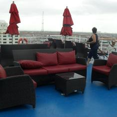 one of many lounging areas onb oard the MAGIC