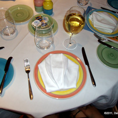 Even the plates were wearing tuxedos