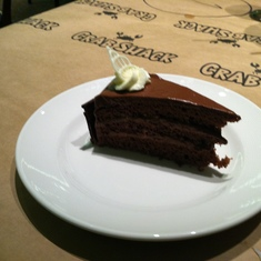 Chocolate cake in the Crab Shack on Royal Princess