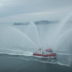 Fireboat as we left Boston