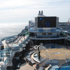 Pool Deck and huge big screen TV on Royal Princess, 70 knot winds didn't bother