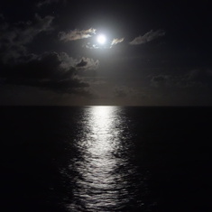 Moon off our balcony after leaving Funchal (Madeira),  Portugal