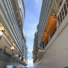 Parked next to the Allure of the Seas