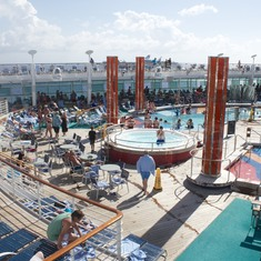 The main deck and pools