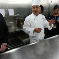 Karan doing Chef's Table galley tour