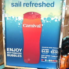 Soda package sign-up (there was a line!), Carnival Splendor