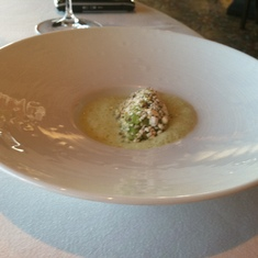Pea sorbet with curry at Remy on Disney Dream