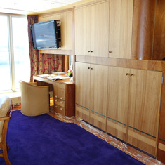 Living Room Cabinets in Pinnacle Suite, Cabin 7001