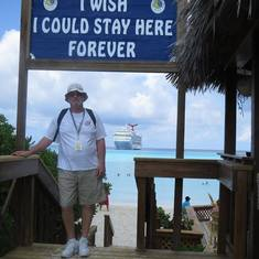 Half Moon Cay, Bahamas (Private Island) - My Hubby under one of our favorite signs