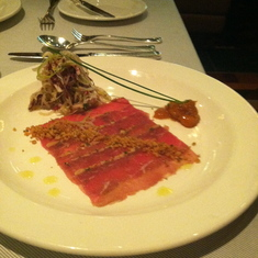 Lamb carpaccio at Crown Grill on Royal Princess