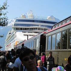 Railway and Norwegian Pearl in Skagway
