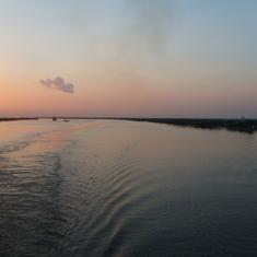 Mississippi River at sunset.