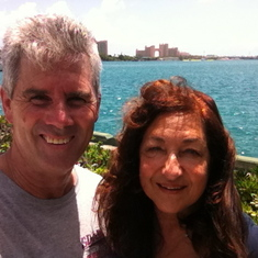 On Nassau, Bahamas, with the Atlantis Hotel behind us...fabulous weather!