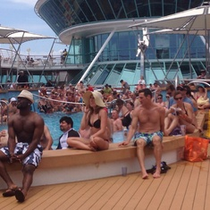 Lido deck catching World Cup game