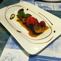 Foie gras with fruit at Casa Guinart restaurant