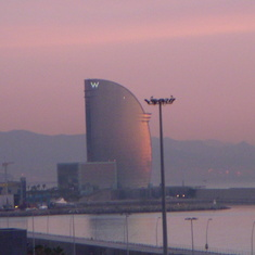 "View of ""W"" Hotel in Barcelona from Balcony on the Westerdam"