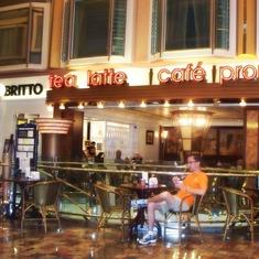 Coffee shop (and Britto!) on the promenade