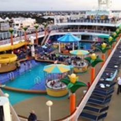 Cozumel, Mexico - View of the pool area, Cozumel in background.