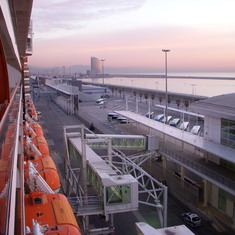 "View from Balcony at Barcelona Port with the ""W"" Hotel in background.  Westerdam"