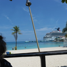 The view from Margaritaville Beach in Ocho Rios