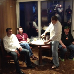 Champagne toast in suite