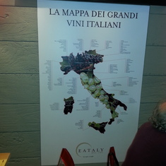 Cool Eataly map of different wine countries in Italy.