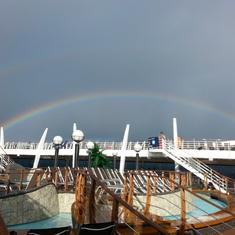 Rainbow over the lido deck.