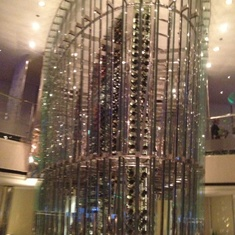 Wine tower in Opus dining room