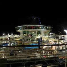 Looking down onto the Lido Deck at night