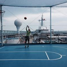 playing some bball on the ship