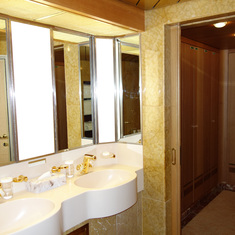 Dual Sinks in Pinnacle Suite with Door to Walk-In Closet to the Right, 7001