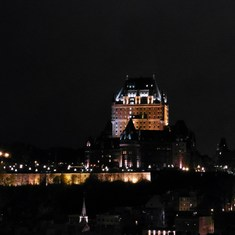 View of Chateau Frontenac in Quebec from the ship.