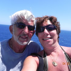 Taking a selfie with my husband on board the Ruby Princess