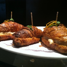 Barcelona, Spain - Best tapas ever -- hot chorizo on a croissant at V.O. restaurant