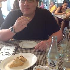 Tapas 24 in Barcelona -- croquettes and a bikini sandwich