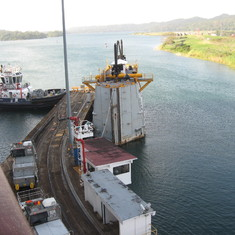 Last lock completed, just entering Gatun Lake, Spare gates on left