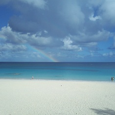A rainbow at Elbow Beach - amazing!