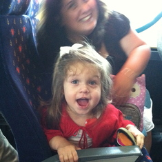 My niece on the bus from Orlando airport to the port.