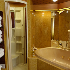 Bathroom Shower and Hot Tub in Pinnacle Suite, Cabin 7001