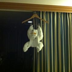 Towel animal, day 2. Monkey?