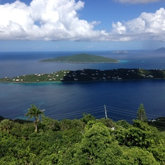 View of St. Thomas from zip line.