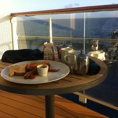 enjoy breakfast on the veranda, while the ship sails towards land, spectacular!!