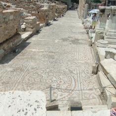 Kusadasi (Ephesus), Turkey - Long road made of mosaic tiles.